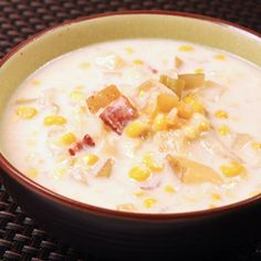 Corn and Bacon Chowder, a recipe from ATCO Blue Flame Kitchen's Everyday Delicious 2003 cookbook.