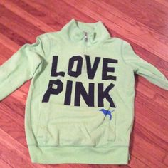 Pink Jacket Green jacket from pink size extra small has a pocket in the front, a half zipper and is brighter in person PINK Victoria's Secret Tops Sweatshirts & Hoodies