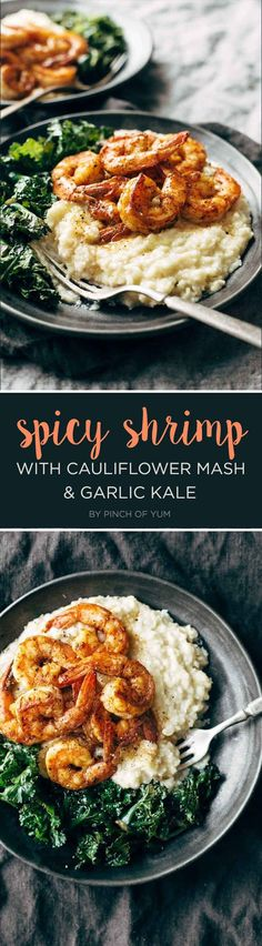 7 Dinners To Make This Week Spicy Shrimp with Cauliflower Mash and Garlic Kale<br> Easy ideas for the best part of your day. Fish Recipes, Seafood Recipes, Paleo Recipes, Whole Food Recipes, Cooking Recipes, Locarb Recipes, Parmesan Recipes, Atkins Recipes, Bariatric Recipes