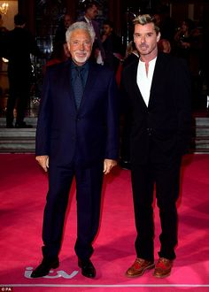 Two of a kind:Sir Tom walked the pink carpet with Bush frontman Gavin Rossdale - who will also act as one of The Voice when the series moves to ITV next year