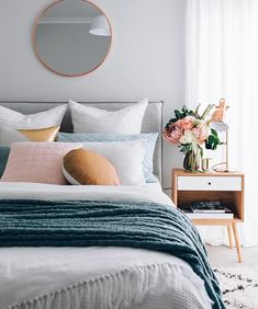 Greys and pastel bedroom