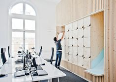A Modern Office Takes Over a Classic Building - Design Milk : Ekimetrics designed by Estelle Vincent Architecture Design Commercial, Commercial Interiors, Interior Work, Office Interior Design, Modern Interior, Corporate Interiors, Office Interiors, Office Lockers, Wood Lockers