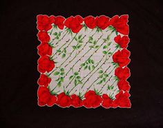Mid Century Floral Handkerchief Mint Green Yellow Tan White