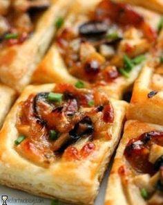 Caramelized Onion, Mushroom, Apple  Gruyere Bites on Puff Pastry