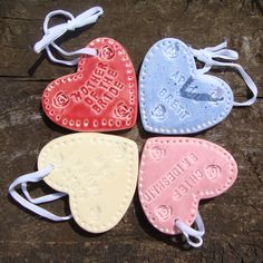 Personalised Ceramic Heart Wedding Favours/Gifts    £3.99 each    These beautiful handmade little ceramic hearts are perfect as wedding favours for your guests.    Personalised with either the bride & grooms names and wedding date, the individual guest's name, or their part in your special day i.e  Bridesmaid,  Flower Girl, Mother of the Bride etc, or anything you would like written on them.