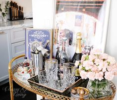 Bar cart styling. Mixing drinks recipe | Classy Glam Living
