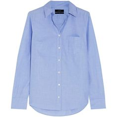 J.Crew Boy End-On-End cotton-poplin shirt ($80) ❤ liked on Polyvore featuring tops, shirts, light blue, boyfriend shirt, j.crew, j crew shirt, blue top y light blue top