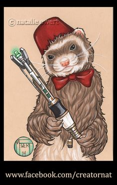 This is the signed, art print version of my (Natalie Ewert's) original artwork, 11th Doctor Who Ferret. size:Choose from the drop down menu above for 2.5x3.5, 5x7 or