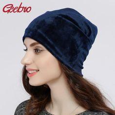 Geebro Brand 2017 Women s Hat Skullies Beanies Polyester Knitted Hats  Beanie Hat Spring Casual Velvet Women Beanies Hats JS277A c776092a8327