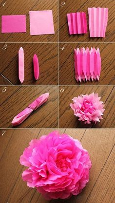 Tissue paper flower. Looks like a pink peony. DIY instructions. Would make cute decor for a girl baby shower