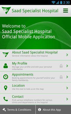 Mobile App: Saad Specialist Hospital on Behance Mobile App Design, Mobile Application, Behance