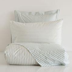 Classic striped bedding.
