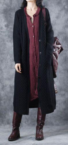 3dd82182faa 2018 black long knit cardigans sweater coat casual V neck maxi coat top  quality pockets trench coat