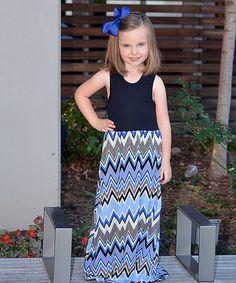Look at this #zulilyfind! Blue Chevron Maxi Dress - Infant, Toddler & Girls #zulilyfinds