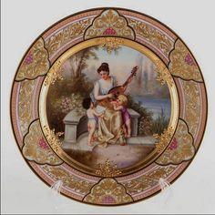 "German Porcelain — Royal Vienna-style Cadinet Plate 'Serenade'. D:9 1/2"",c. 1880 (623x700)"