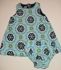 Baby Gap Retro Floral Dress and Matching Diaper Cover Girls sz 0 3m FREE SHIPPING
