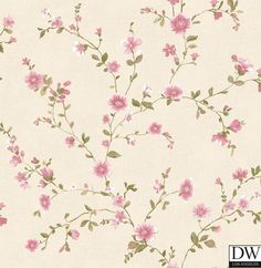 Delphine Pink Floral Trail Wallpaper  [FFA-82046] Frederica Frontere   Color: Pink   DesignerWallcoverings.com   Luxury Wallpaper   @DW_LosAngeles   #Custom #Wallpaper #Wallcovering #Interiors