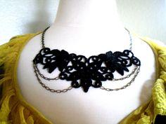 $22 Handmade Black Applique Necklace