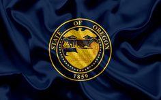 Scarica sfondi Oregon, Stato, Bandiera, bandiere degli Stati, bandiera, Stato dell'Oregon, USA, stato dell'Oregon, in seta blu, Oregon stemma