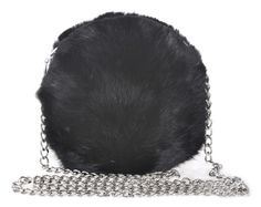 Style #390 black rabbit fur w/ silver chain
