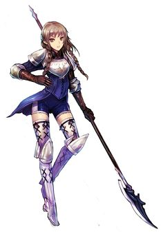armor boots braid brown_eyes brown_hair gloves greaves kara_(color) polearm ravness_loxaerion simple_background solo spear tactics_ogre thigh-highs thigh_boots thighhighs twin_braids weapon white_legwear