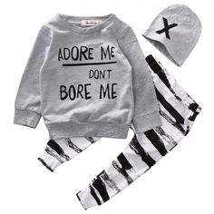 Baby 3 piece outfit. Set includes one long sleeve printed sweater, one pair of black and white soft pants, and one matching hat. Free Shipping! Please allow 2