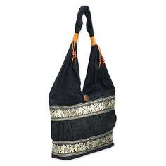 Black Cotton Should Bag from Thailand - Black Elephant Parade   NOVICA