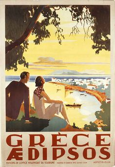 Vintage travel poster of Edipsos Greece, 1956 Old Posters, Retro Poster, Poster Ads, Vintage Travel Posters, Custom Posters, Vintage Ads, Poster Prints, Vitrine Design, Tourism Poster