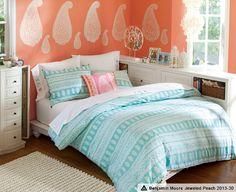 jeweled peach paint---Paisley Bedroom, Paisley Room Decor & Chelsea Paisley Bedroom | PBteen