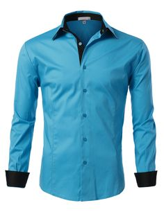 Sizes may run small; please choose a size up. This slim fit button down shirt with color contrast combines classic style and bold colors to create a modern look. Tuck it in for a dressy look or leave