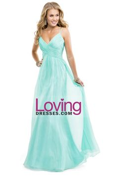 2014 Prom Dress Spaghetti Straps Chiffon A Line Ruffled Bodice With Criss Crossed Back Mint