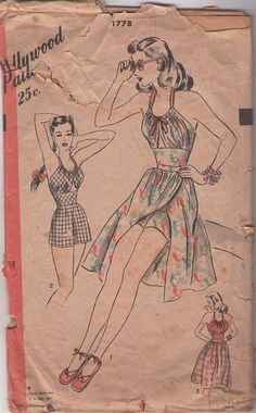 Hollywood 1778 Vintage Sewing Pattern AMAZING Risque PinUp Bombshell Peekaboo Keyhole Midriff, Cinched Waist Drawstring Halter Top Playsuit, Romper Wrap Around Skirt Vintage Dress Patterns, Clothing Patterns, Vintage Dresses, Vintage Outfits, Vintage Fashion, 1940s Fashion, Vintage Wardrobe, Vintage Style, Vintage Bathing Suits