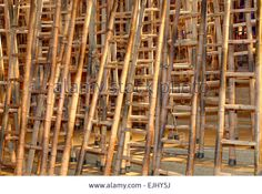 Modern Art Exhibition Display Of Bamboo Ladders And Light ...