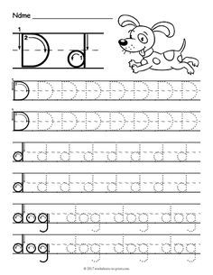 Give Your Kids A Head Start With Handwriting This Fun And Free Printable Tracing Worksheet For The Letter D Featuring Dog