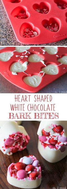 Valentine's Day White Chocolate Bark Bites. Melted white chocolate with holiday M&M candies and candy sprinkles or jimmies. Made in a heart silicone mold.