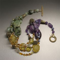 Lemon Amber - Prehnite - Amethyst Necklace