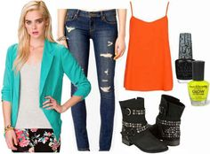 Jeans, orange shirt, turquoise blazer, black and yellow nail polish, ankle boots