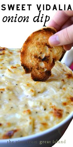 Sweet Vidalia Onion Dip is an easy hot appetizer that will have everybody begging for the recipe! It's perfect for game nights, holiday entertaining, or just a romantic night in. # Easy Recipes sweets Sweet Vidalia Onion Dip ~ it's the BEST! Vidalia Onion Dip, Vidalia Onion Recipes, Recipe For Onion, The Recipe, Recipe With Onions, Beef Recipes, Cooking Recipes, Healthy Dip Recipes, Kitchen Recipes