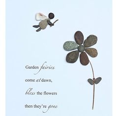 Garden faired come at dawn, bless the flowers, then their gone. #pebbleart…