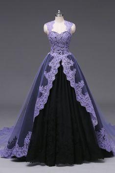 Purple Wedding Gown, Purple Gowns, Black Wedding Dresses, Purple Dress, Gown Wedding, Purple Lace, Purple Ballgown, Purple Black Wedding, Halloween Wedding Dresses