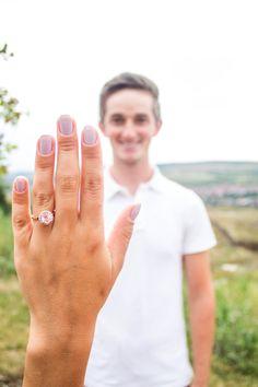 emgagement ring selfie idea , proposal, the happy man