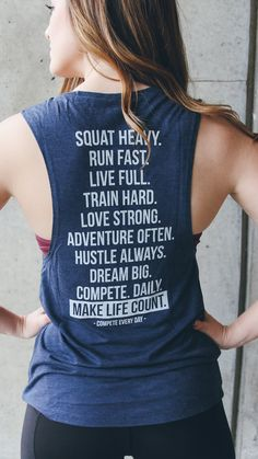 """Keys to Life"" inspirational muscle tank by Compete Every Day. Women's fit available in navy or olive green, and racerback styles as well."
