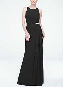 This stylish and elegant long bridesmaid dress is perfect to wear to any special event!  Sleeveless gown with strappy back.  Pleated detailand sparkling brooch belthelp shape a flattering silhouette.  Sideslit adds a sultry touch and finishes off the look.  Fully lined. Back zip. Imported polyester. Dry clean. To protect your dress, try our Non Woven Garment Bag.