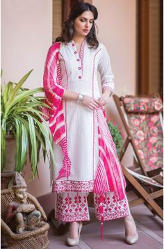 Tacfab Exclusive Semi-Stitched Designer Cotton White and Pink Printed Salwar Kameez - BAN113 To shop here: http://goo.gl/KFcWqk