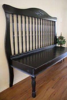 Photo: Bench made from a crib ~ nice :) <3  via http://adiamondinthestuff.com/2011/04/turn-crib-into-bench.html