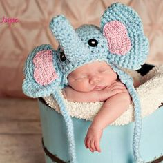 little elephant hat crochet pattern with earflap-  sizes 0-3 month only-etsy