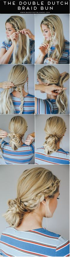 Barefoot Blonde Double Dutch Braid Bun