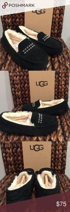 UGG Swarovski Black Ansley Moccasins The Ansley Deco Studs slipper from UGG® offers the ultimate in luxury and comfort.  PRODUCT INFORMATION: Suede upper features heat embossed UGG logo for added appeal. Luxuriously lined with UGGpure™ wool for a breathable and warm environment. Eye catching top stud accent. Generously cushioned footbed is lined in UGGpure™ wool. Molded gum rubber outsole is perfect for indoor or outdoor use. UGG Shoes Moccasins