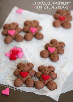 Chocolate Raspberry Spritz Teddy Bears