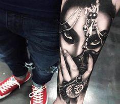Girl Face tattoo by Khail Tattooer